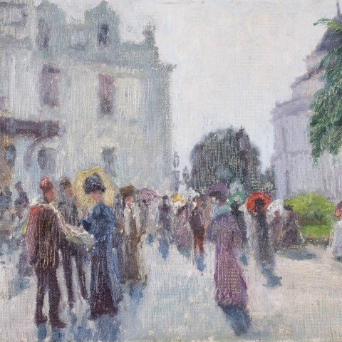 Alfred Hermann Helberger - Boulevard Scene with Figures