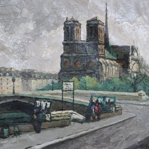 Notre Dame et Quai St.Michel, Paris by 20th Century French School