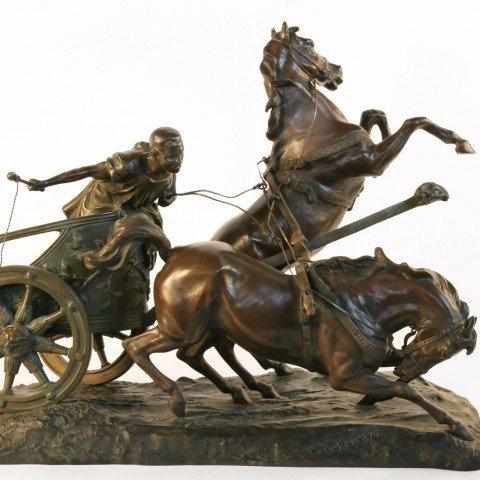 Giuseppe Ferrari 19th Century Bronze, Horse and Chariot
