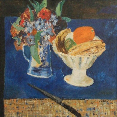 Still Life, Vase of Flowers, Bowl of Fruit, Knife