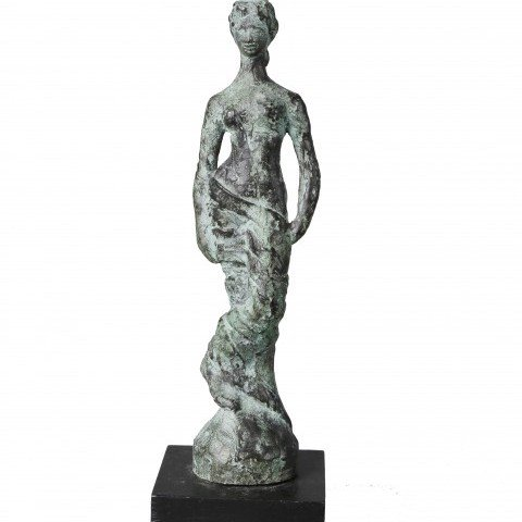 Figurative Bronze on Wooden Base Sculpture: