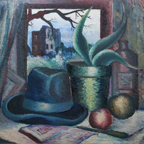 Harvey Gregory Prusheck - Still Life with Hat and Succulent