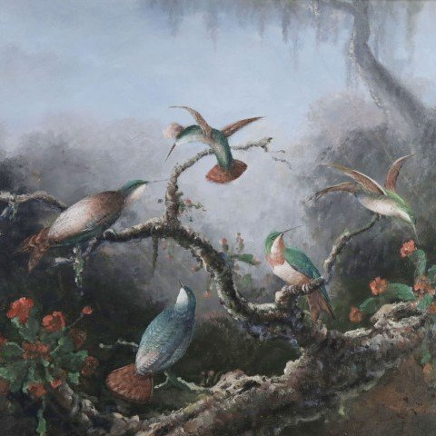 20thc. School, Hummingbirds in a Lush Landscape