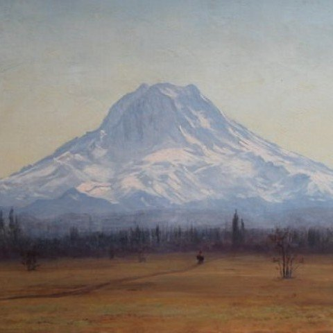 Morning, Mt. Tacoma from about 10 Miles South of Tacoma City, Washington