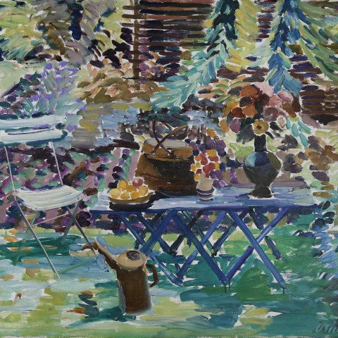 Garden Still-Life with Trellis by Joseph Benjamin O'Sickey
