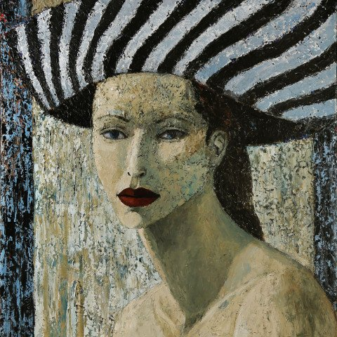 Ken Nevadomi - Woman with Striped Hat, 1993