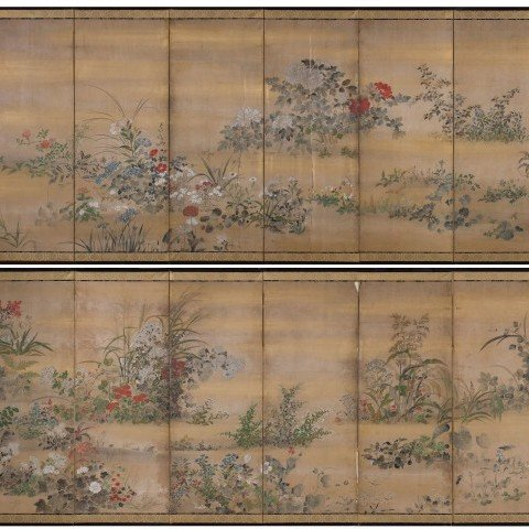 Attributed to Kitagawa Sōsetsu - An Exceptional Pair of Edo Period Six Panel Screens