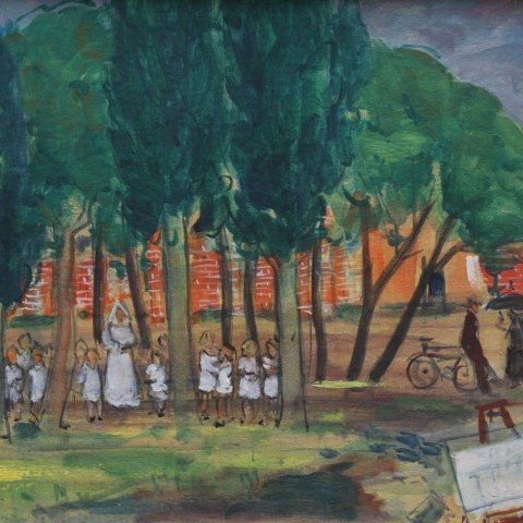 Schoolgirls in the Park, Paris by Kurt Polter