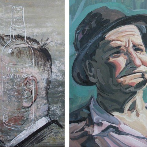 Robert Loomis(Amer. 20thc.) Bottle on the Mind & Man with a Pipe