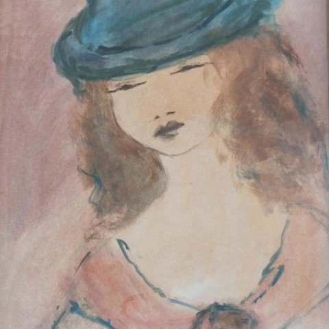 Girl in a Blue Hat by Marcel Vertes