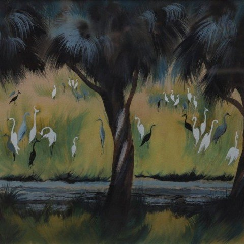 Marion Bryson - Egrets and Cranes in a Landscape