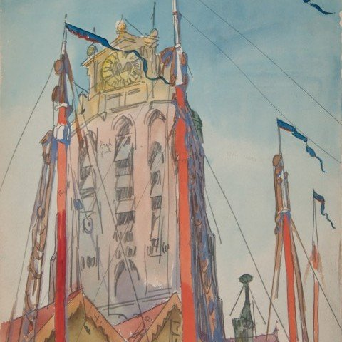 Masts and Steeple, Dordrecht, Netherlands, c. 1914