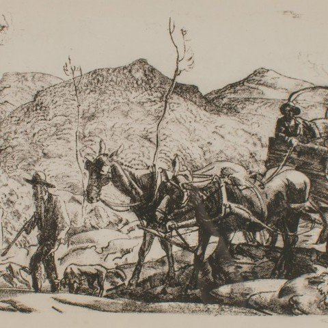 Mountaineer on Mule Drawn Wagon Trail