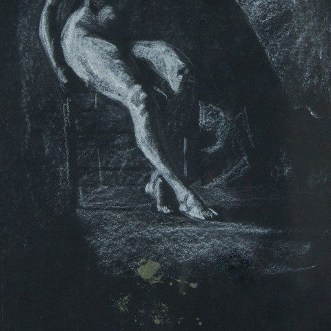 Figurative White Conté Crayon on Black Paper Drawing: