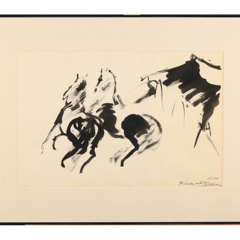 Horses, ink drawing by Joseph Benjamin O'Sickey