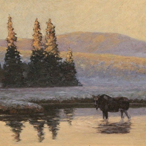 Paul Colbrun-Female Moose in River