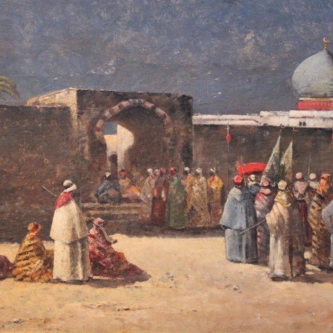 Paul Duvergne - Arabs Congregating Outside a Walled City