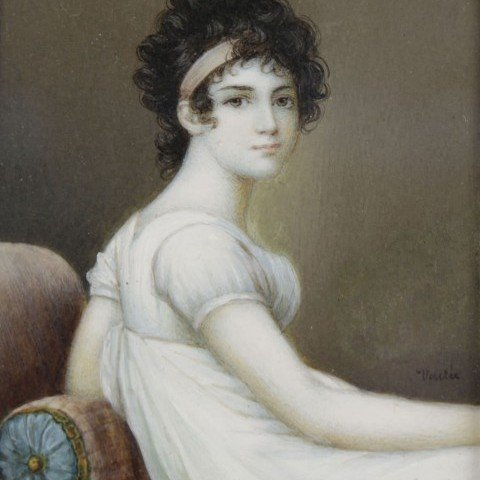 19thc. French Miniature Painting on Ivory, Josephine Bonaparte, after Jacques Louis David by Jacques Louis David (after)