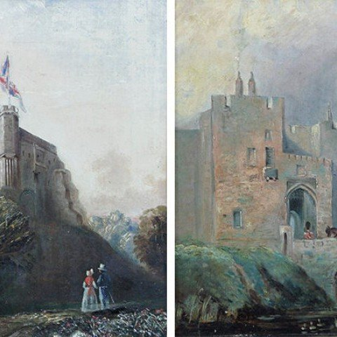 Samuel Bough—Carlyle Castle-St.Mary's Tower and Castle Gate