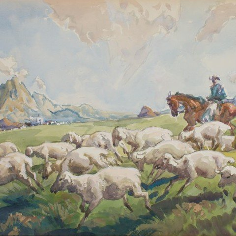 Sheepherder in Mountains