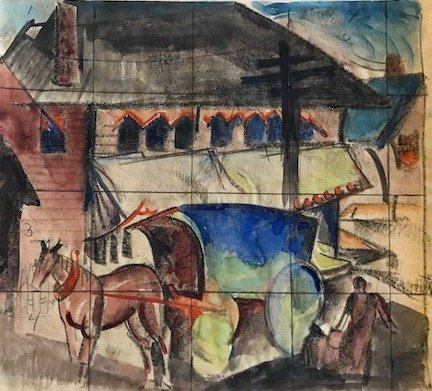 Study for 'Horse and Covered Cart in Town'