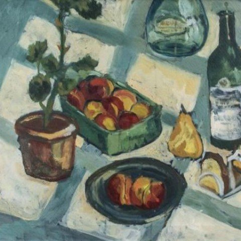 Still Life with Checked Tablecloth and Bottles of Wine