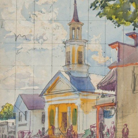 Study for Brecksville Congregational Church from Front, Ohio