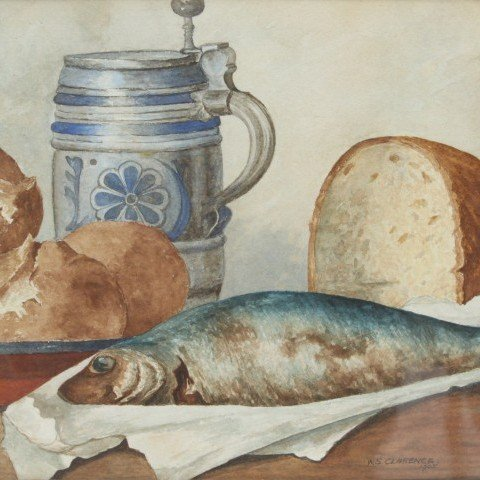 W. S. Clarence - Still Life with Fish, Bread and German Stein