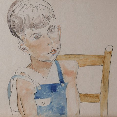 Boy in Blue Overalls by William Sommer