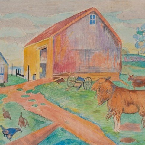 Brandywine Landscape with Goats and Chickens
