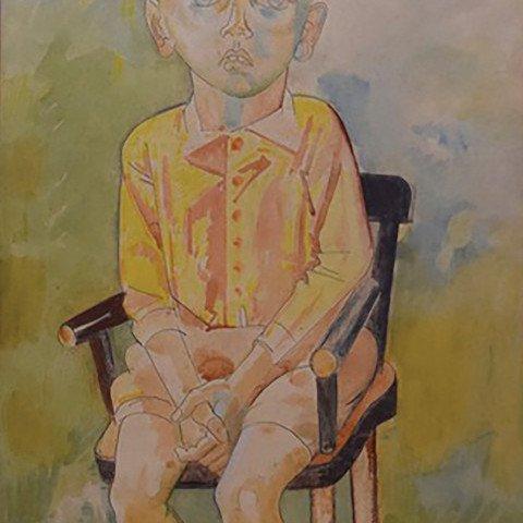 Frankie in Yellow (Portrait of Frankie Dominski) by William Sommer