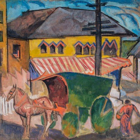Horse and Covered Cart in Town by William Sommer