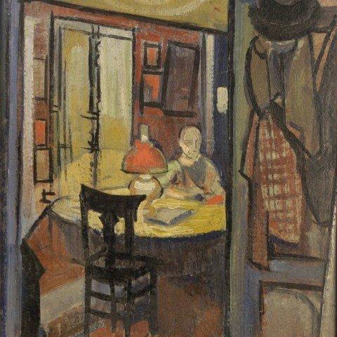 Interior Scene with Man Reading