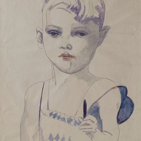 Marvin Holding Pencil by William Sommer