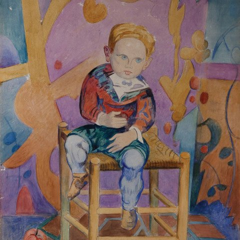 Small Boy with Apples by William Sommer
