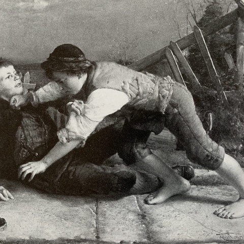 Karol (Karl) D. Witkowski - Children Fighting, 1885