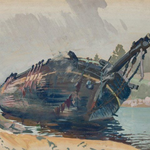 Frank Nelson Wilcox - The Wreck of the Mary Weaver, Boothbay, Maine - c. 1924