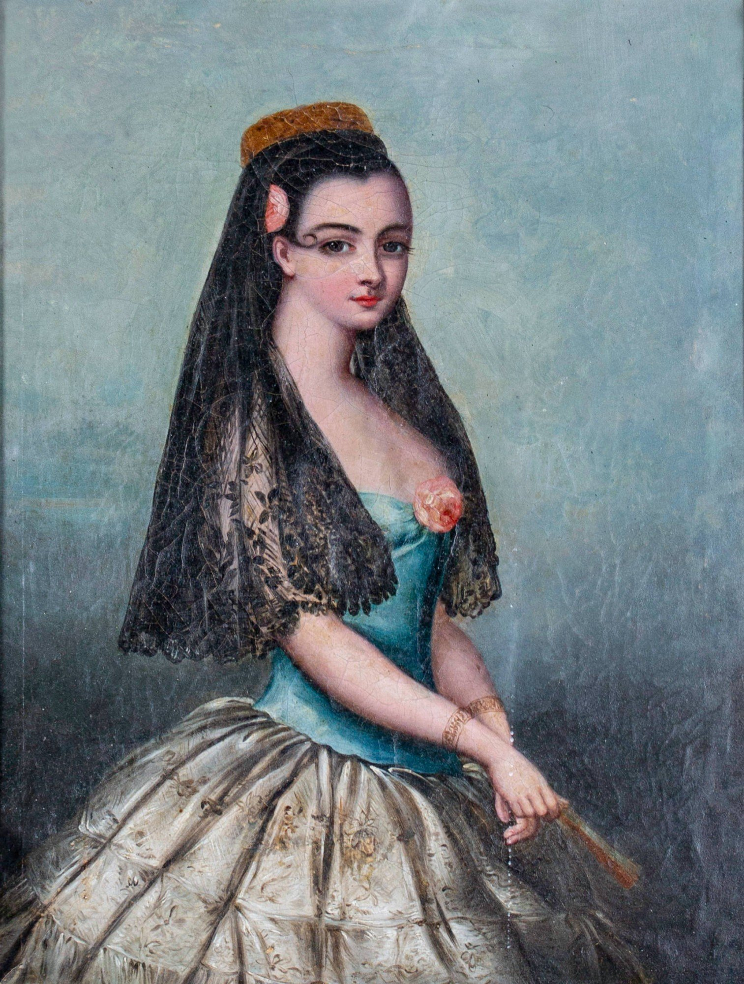 44 Provencal Portrait of Woman with Rose and Veil, 19th Century Spanish  School | Inventory | WOLFS Fine Paintings and Sculpture