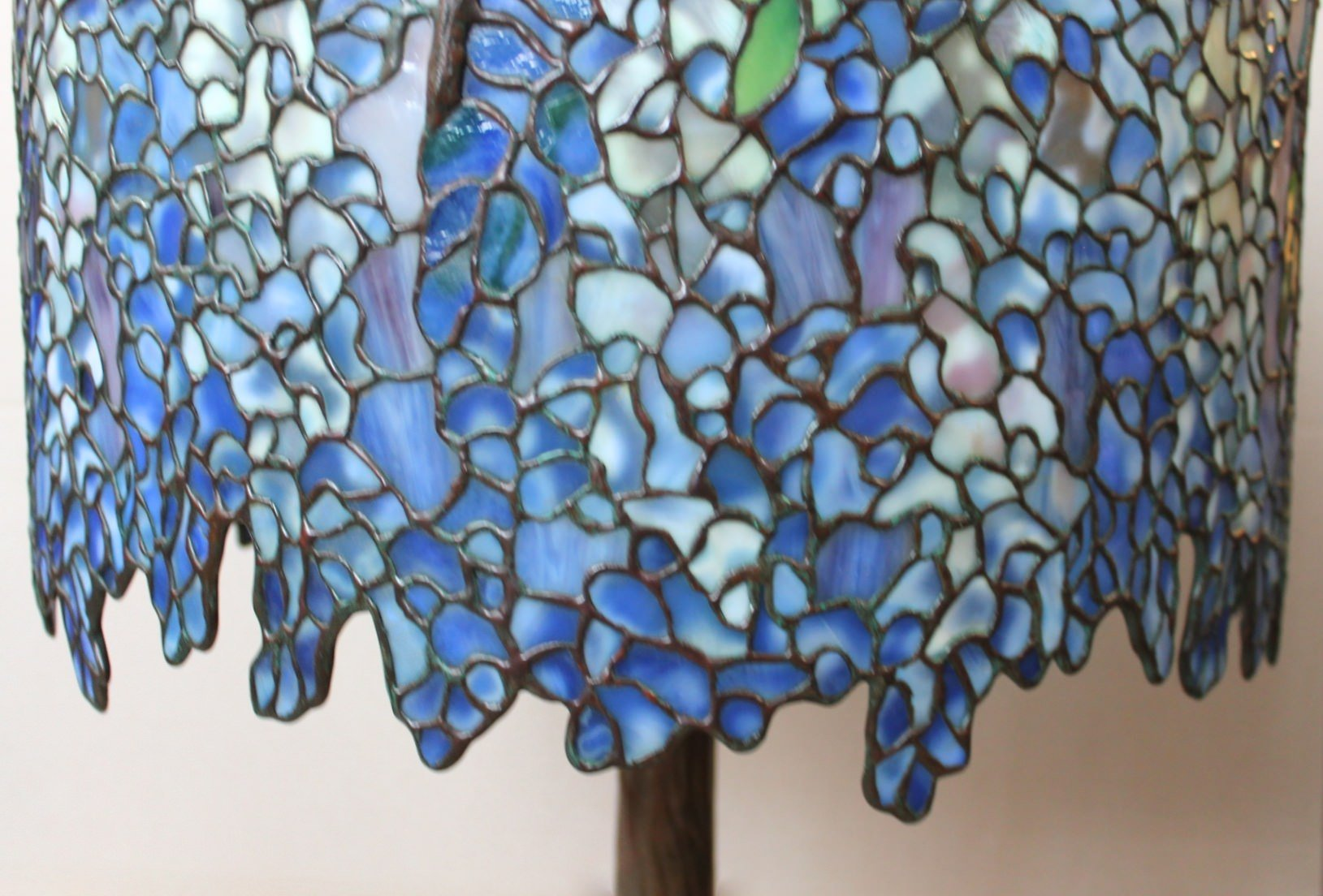 Tiffany Style Leaded Glass Wisteria Lamp By Paul Crist