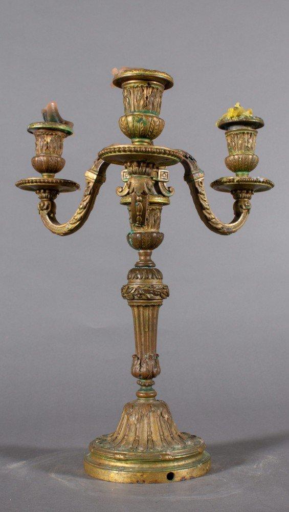 Pair of Bronze 19th Century French three light candelabra