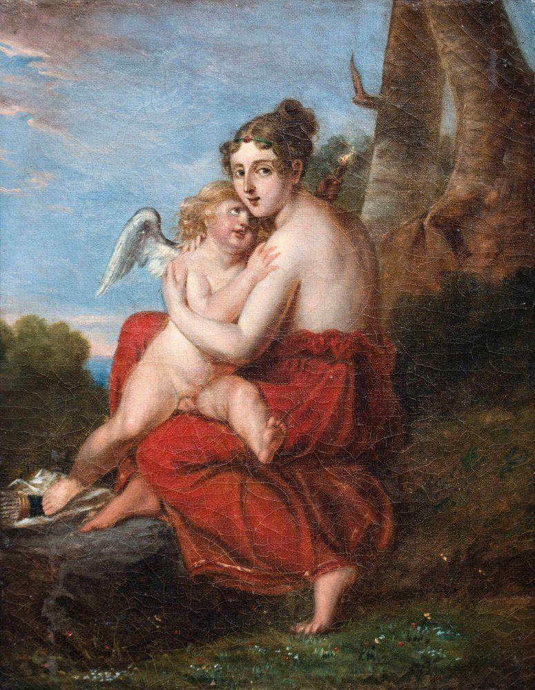 Cupid and Psyche, Mid 19th Century Continental School  by 19th Century Continental School