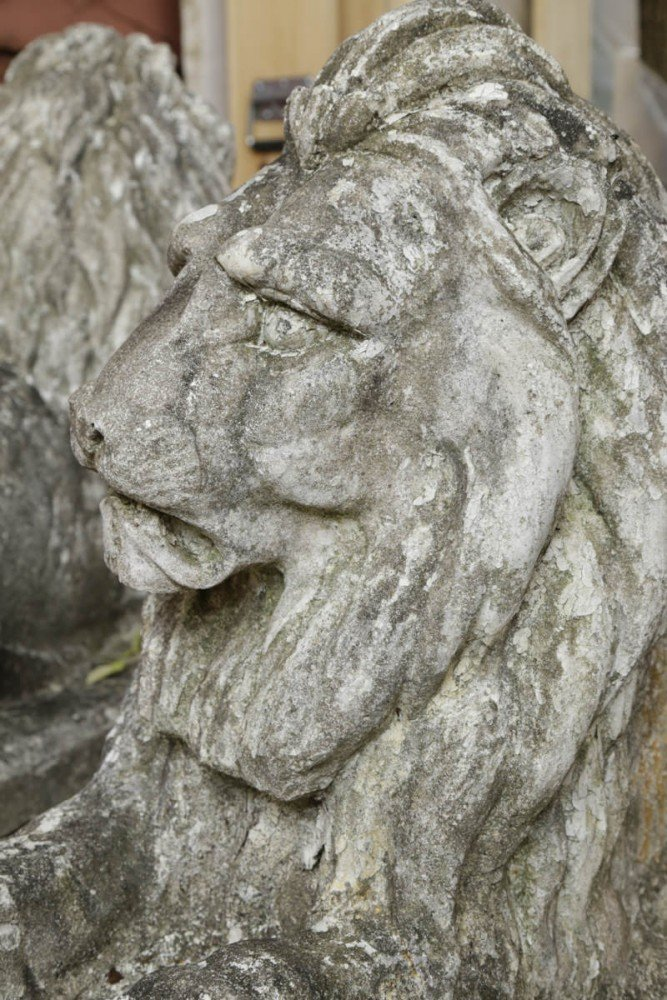 Cast Stone Decorative Art: 18th/19th Century Pair of Cast Stone Lions Full Scale