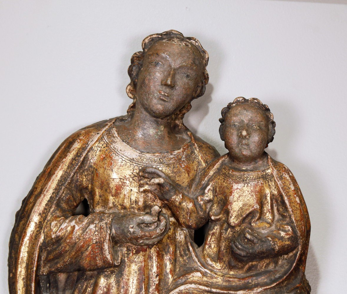 Figurative Carved Giltwood Sculpture: