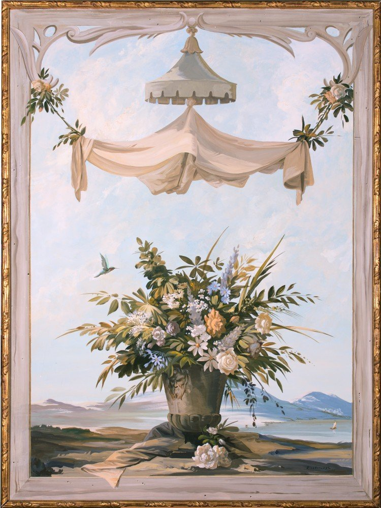 Monumental Hand Painted Architectural Decoration, 19th Century