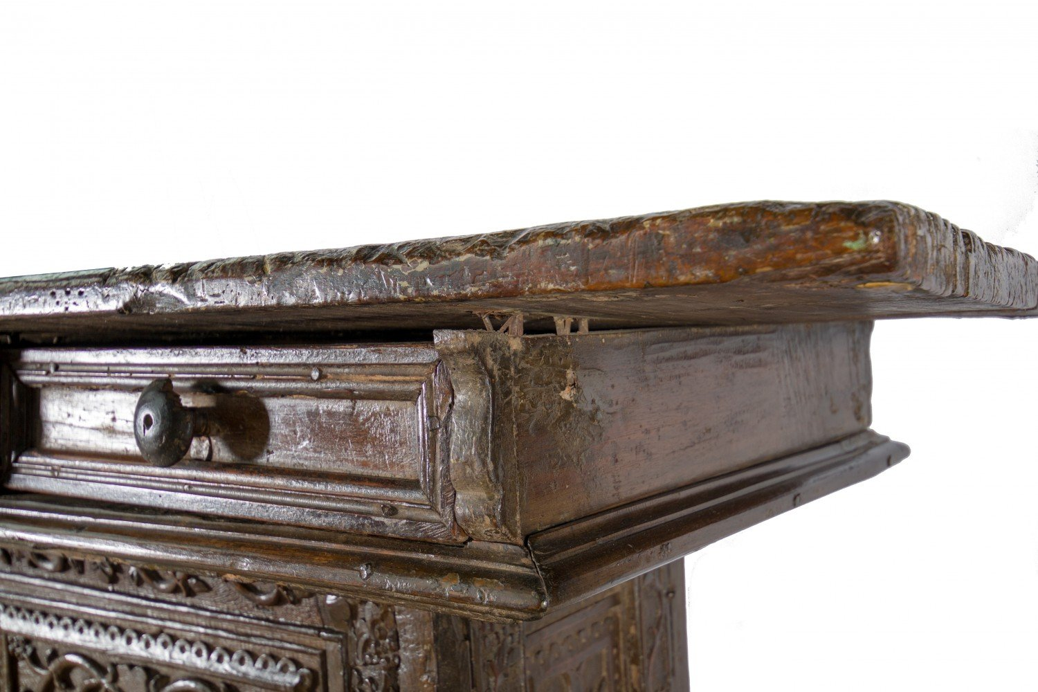 Walnut Table Sculpture: 16th/17th Century Italian Baroque Altar Table