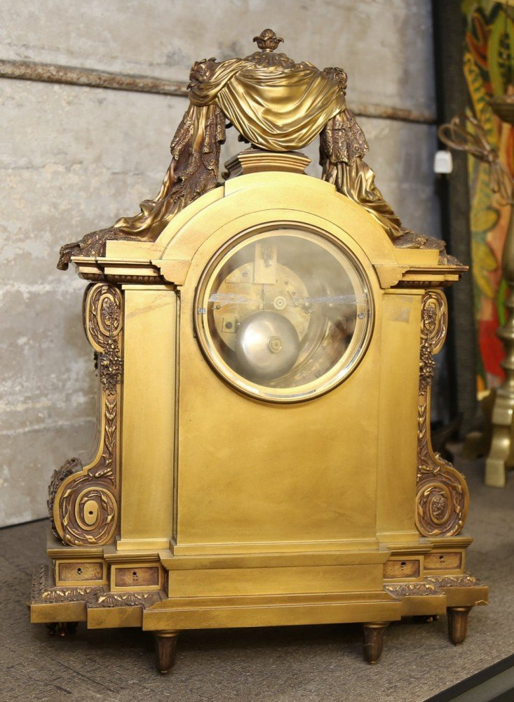 Large and Finely Cast Bronze Mantle Clock