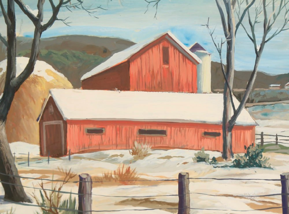 Landscape with Two Red Barns and Haystack by Elmer Ladislaw Novotny