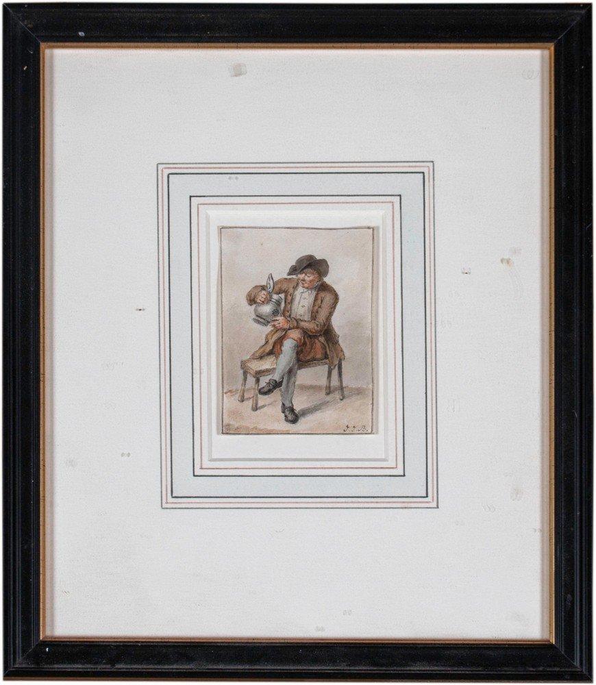 Pair of Watercolors, Seated Gentleman by 19th Century Dutch School