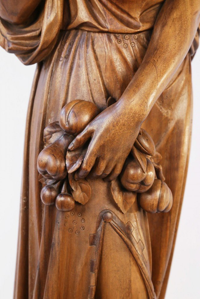 Pair of large, rare, superbly carved, butternut wood figures representing Europe and Africa by Alexandre-Georges Fourdinois