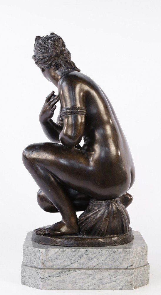 Figurative Bronze on a Marble Base Sculpture: